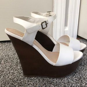 White Strappy Wedge Charlotte Russe size 6